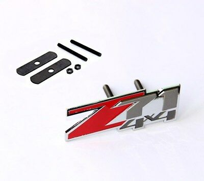 NEW Chrome GENUINE Grille Z71 4x4 Emblem for GM Chevrolet Silverado Sierra Red