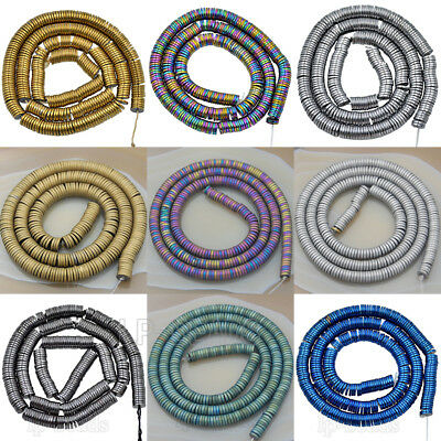 Matte Smooth Hematite Heishi Gemstone Sliced Beads 1mm 2mm 3mm 4mm 6mm 16''