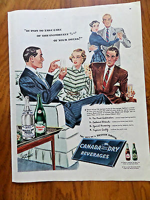 1947 Canada Dry Beverages Soda Ad   It Pays to take care Important 4/5th Drinks