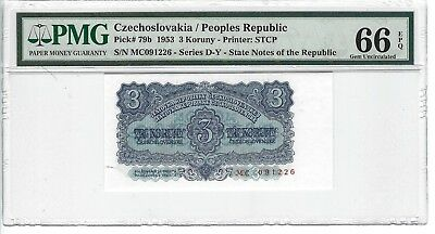 P-79b 1953 3 Koruny,  Czechoslovakia / Peoples Republic,  PMG 66EPQ Finest Known
