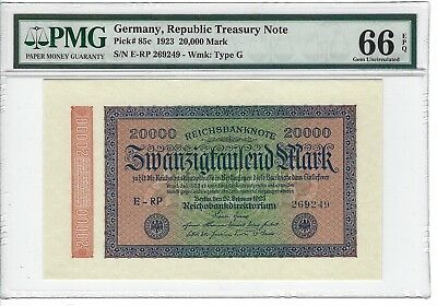 P-85c 1923 20,000 Mark, Germany-Republic Treasury Note,  PMG 66EPQ