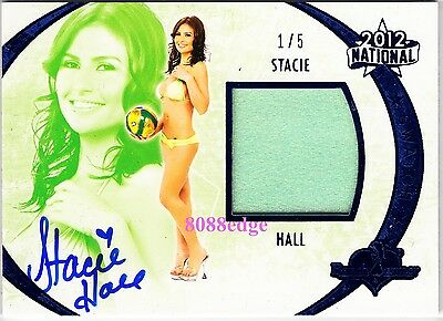 2012 Benchwarmer National Bikini Auto: Stacie Hall #1/5 Worn Swatch Autograph