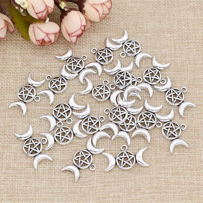 1/20 Pcs Triple Moon Goddess Pendant for Necklace Moon Star Silver Charms Gifts