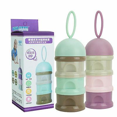 3 Layers Baby Milk Powder Dispenser Container Storage Formula Feeding Box 7944