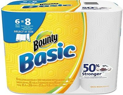 Bounty 92981 Basic Select-A-Size Paper Towels, 5 9/10' x 11', 1-Ply, White of