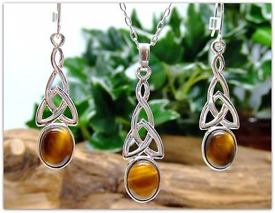 "Tigers Eye Sterling Silver Necklace and Earring Set Celtic 925 silver 20"" chain"