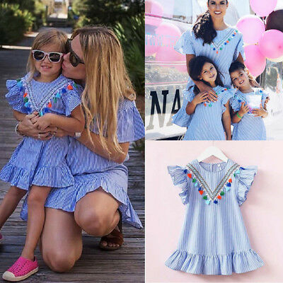 US Stock Toddler Kids Girls Striped Summer Party Dress Sundress Clothes Casual