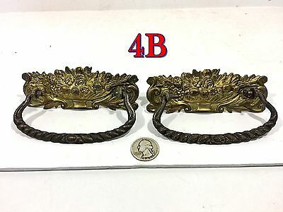 Pair Antique Victorian FLORAL Stamped Brass DRAWER PULLS handles knobs