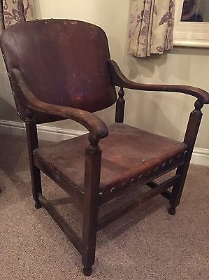 Unusual Antique Oak Framed Leather Smoking Chair Vintage Gentleman Seating