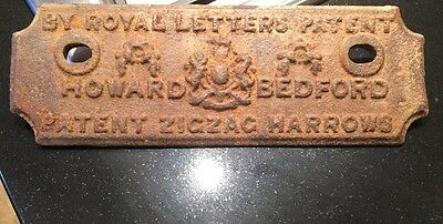 Antique Cast Iron Sign~J & F Howard Bedford Zigzag Harrows cast iron ~ Patent