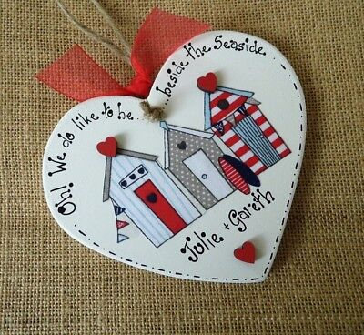 HANDMADE Seaside PLAQUES Personalised SHABBY Chic BEACH Hut WOODEN Arty GIFTS