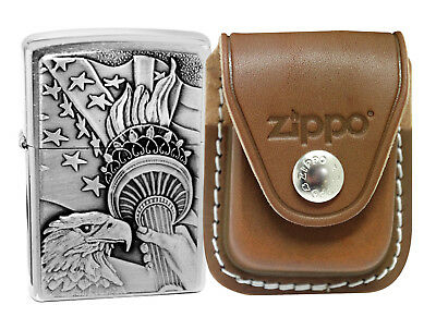 Zippo Lighter 20895 Something Patriotic Chrome + LPCB Brown Leather Pouch Clip