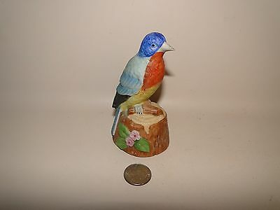 "VINTAGE BISQUE BIRD FIGURINE BELL BLUE BIRD MADE BY JASCO TAIWAN, 4 3/8"" Tall"