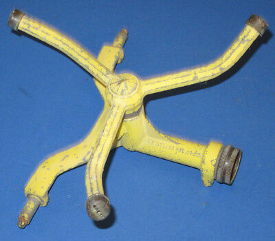 Vintage Nelson #4089 Yellow Cast Iron Lawn Water Sprinkler