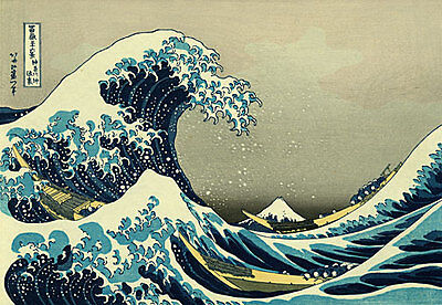 The Great Wave 30x44 Kanagawa Japanese Print by Hokusai Asian Art Japan Samurai