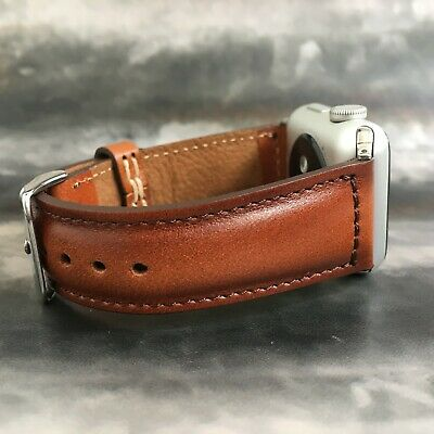 Handmade 44mm 42mm 40mm 38mm Apple Watch iWatch Band Tan Brown Leather Strap