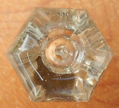 Single Vintage Hexagonal Clear Glass Cabinet Knob - Drawer or Door Pull