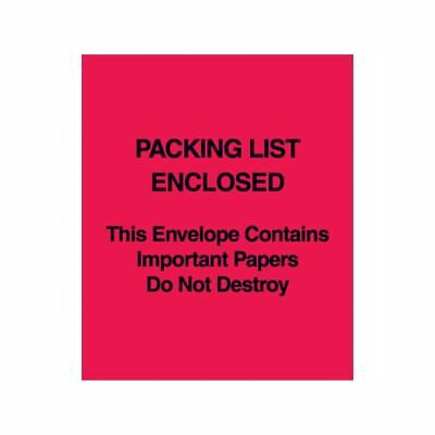 """Packing List Enclosed/Important Papers/Do Not Destroy"" Envelope, Red, 1000/cs"