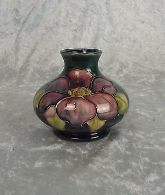 A Small Moorcroft Clematis Pattern Squat Vase With Queen Mary Label