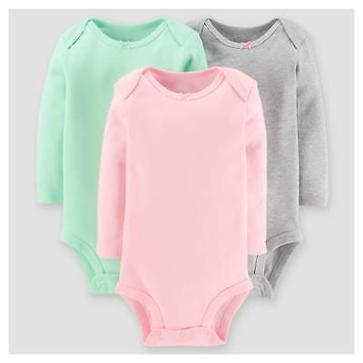 Baby Girls' 3pk Long Sleeve Sold Bodysuit - Just One You™ Made by Carter...
