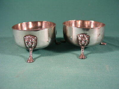 Pair of Antique Silver Plated Open Salt Cellars Lions Face and Paw Feet