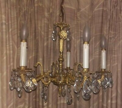 Antique 1950s Chandelier Cast  Brass Dressed With 51 Crystal prisms  5 light