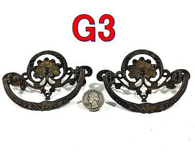 "Pair Antique Cast Brass Victorian Dresser Drawer PULLS 3"" OCB furniture *G3*"