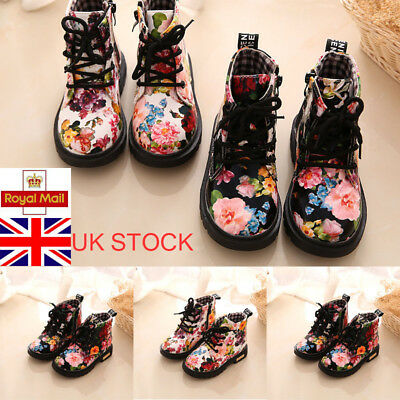 New Girls Retro Floral Strappy Flat Kid Princess Ankle Boots Casual Shoes Size