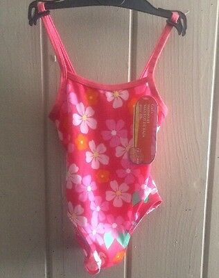 Girls One Piece Swimsuit - Infant 18-24 months - Pink with Flowers-NWT