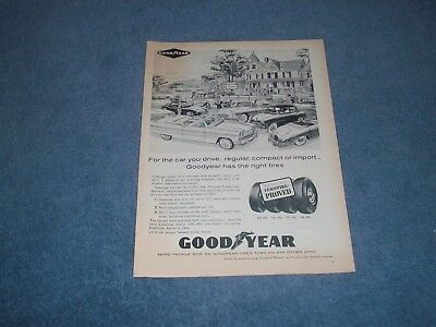 """1960 Goodyear Tires Vintage Ad """"For the Car You Drive..."""""""