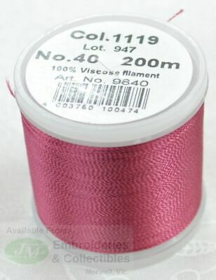 Madeira Rayon 40 Machine Embroidery Thread 200m #1053 LIGHT CORAL