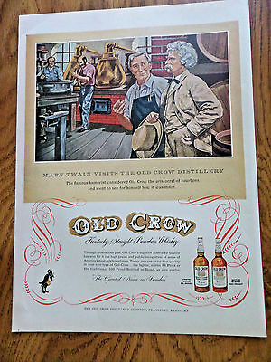 1953 Old Crow Whiskey Ad Mark Twain Visits the Old Crow Distillery