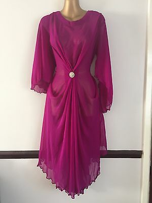 Magenta Summer Beach Top Kurta Kaftan Kameez Tunic Chiffon Holiday L 14 New Gift
