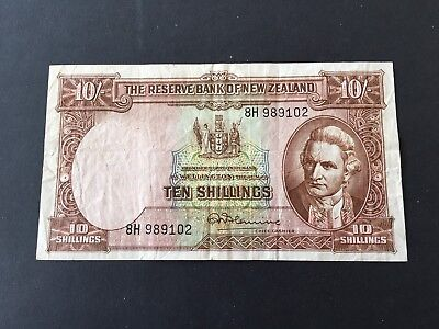 New Zealand 10 shillings Fleming 1960 nice banknote