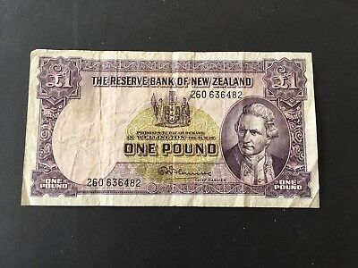 New Zealand 1pound  Fleming 1960 nice banknote
