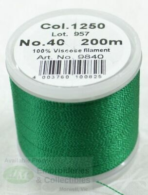 Madeira Rayon 40 Machine Embroidery Thread 200m Colour 1250 EMERALD GREEN