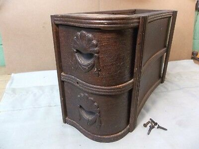 Antique WHITE treadle sewing cabinet CURVED 2 DRAWER SET W/ FRAME