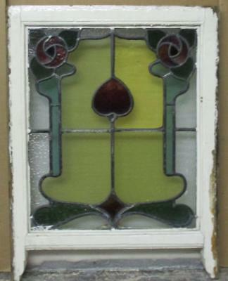 "MID SIZED OLD ENGLISH LEADED STAINED GLASS WINDOW Stunning Floral 20.75"" x 24.25"
