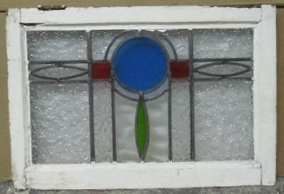 """MID SIZED OLD ENGLISH LEADED STAINED GLASS WINDOW Pretty Circle Abs. 25"""" x 17"""""""