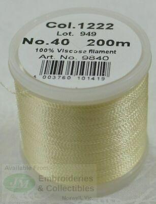 Madeira Rayon 40 Machine Embroidery Thread 200m Colour 1222 PALE YELLOW CREAM
