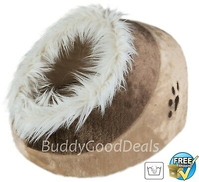 Warm Cosy Faux Fur Igloo Cave Bed by Trixie 36281 - for Cats  Beige