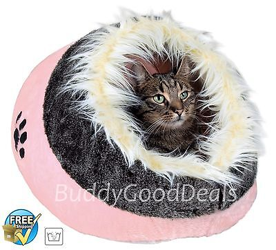 Warm Cosy Faux Fur Igloo Cave Bed by Trixie 36301 - for Cats Rose