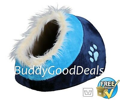 Warm Cosy Faux Fur Igloo Cave Bed by Trixie 36309 - for Cats Blue
