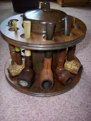 Lot Of 6 Vintage Smoking Pipes With Pipe Rack And Humidor