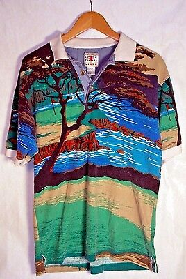 VTG Cotton Traders 90s Golf Scene Polo Shirt Collared Front Back Print Mens Sz M