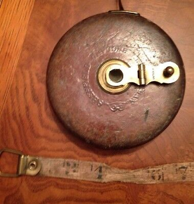 Antique Chesterman Sheffield England  66' Leather Case Brass Tape Measure 1908