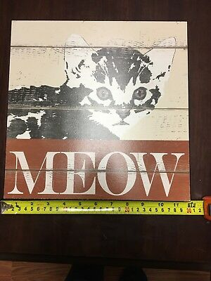 """11.5"""" X 11.5"""" MEOW Cat wall Picture"""