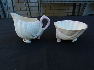 IRISH BELLEEK Neptune Pink Blush SUGAR BOWL & CREAM JUG