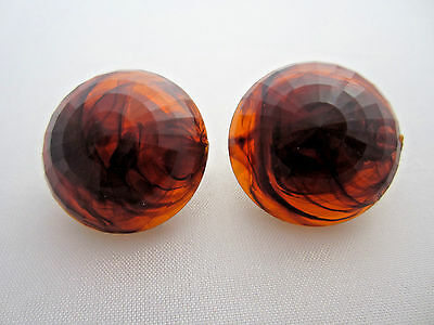 Vintage Signed DALSHEIM FACETED LUCITE ROOTBEER SWIRL PIN UP EARRINGS Germany