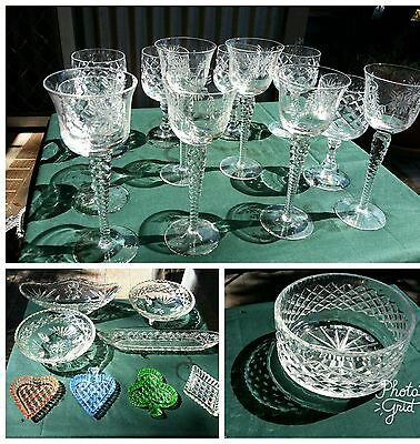 Bulk Crystal glass, bowls, glasses, vintage, antique